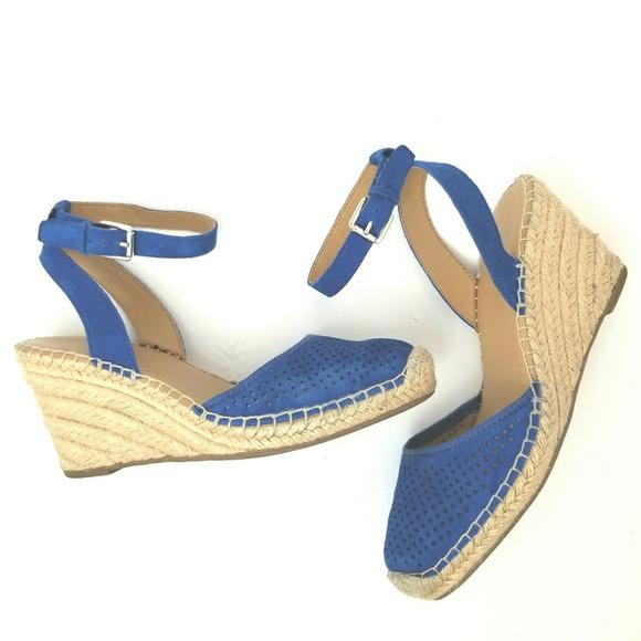 c2a44a043f Franco Sarto Shoes - Franco Sarto Mirage 2 Blue Suede Espadrille Wedges